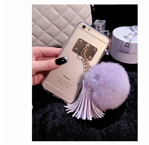 Hot Fashion for iPhone 5s 6s Plus Luxury Tassel Pompom Fur Ball Soft TPU Back Case for iPhone 5 5s SE 6 6s Plus Phone Case Cover