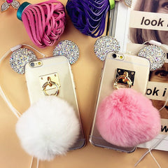 Bling Rhinestone Mickey Mouse Phone Cases for iPhone 6s 7 Plus Samsung S6 S7 edge Plus Note 3 4 5 Pompom Fur Ball TPU Case Cover