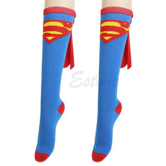HOT Unisex Super Hero Socks - Superman Batman Knee High With Cape