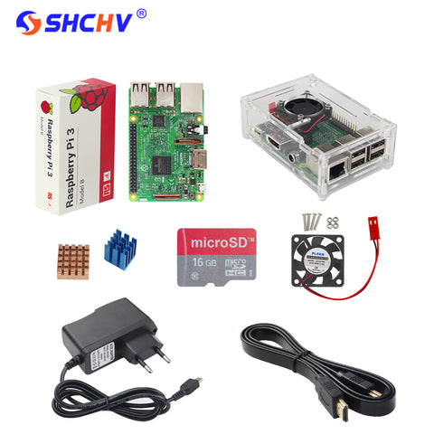 UK RS Raspberry Pi 3 Model B + Acrylic Case+16 G SD Card + CPU Fan + 2.5A Power Adapter+1.5M HDMI to HDMI Cable + Heat Sink