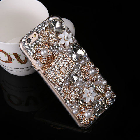 Luxury Bling Crystal Flower Pearl Diamond Handbag Case For Samsung Galaxy phones