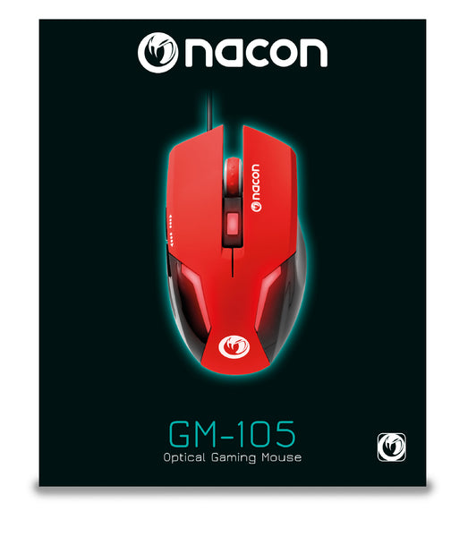 Nacon GM-105RED Wired Gaming Mouse - Optical Sensor - 2400DPI - 1.5m Cable (Red) /PC