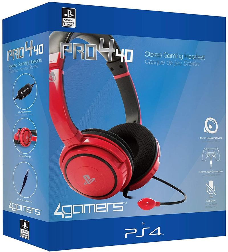 Pro4-10 Officially Licensed Stereo Gaming Headset (Red) /PS4
