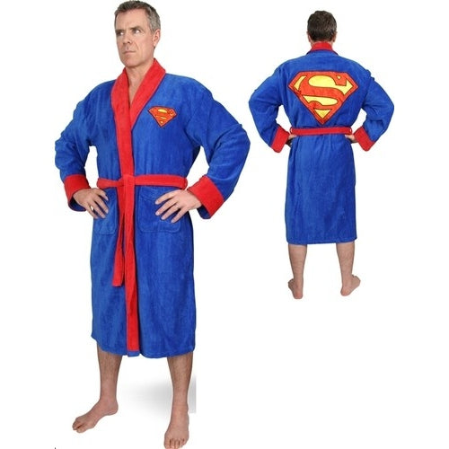 Superman DC Comics Fleece Original Superman Logo on Front and Back Blue No Hood Adult One Size /Home