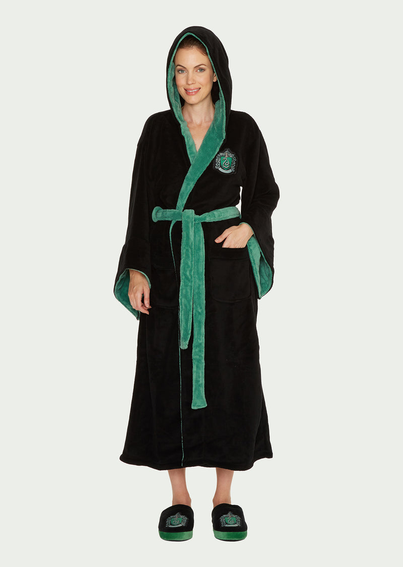 Harry Potter Slytherin Ladies Black Fleece Robe with Hood /Merchandise