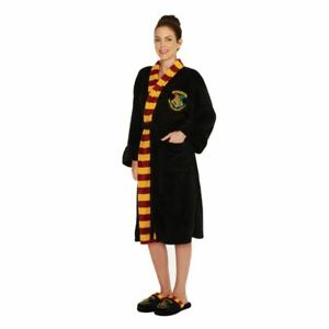 Harry Potter Hogwarts Ladies Black Fleece Robe with Scarf Detail No Hood /Merchandise