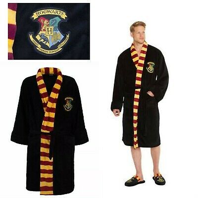 Harry Potter Hogwarts Mens Black Fleece Robe with Scarf Detail No Hood /Merchandise