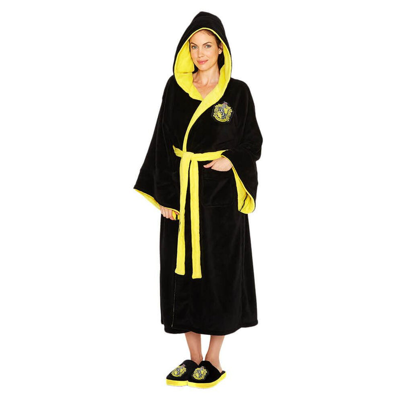 Harry Potter Hufflepuff Ladies Black Fleece Robe with Hood and House /Merch