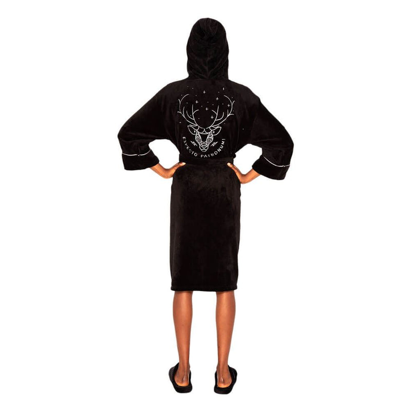 Harry Potter Patronus Womens Silver Black Fleece Robe with Hood /Merch