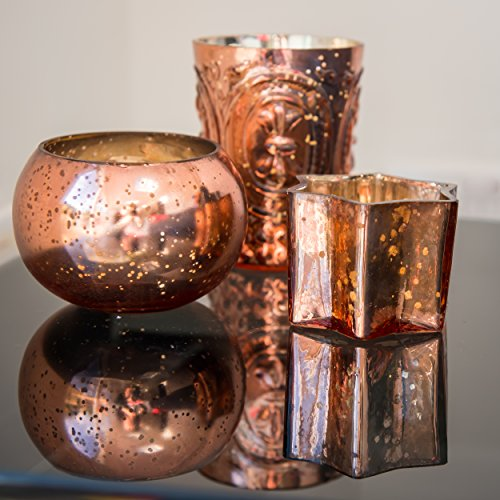 Insideretail Xmas Mercury Glass Tea Light Holder with Distressed Silver Copper Foil Set of 24 /Home