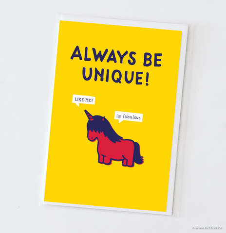 "Motivational card ""Always be unique!"""