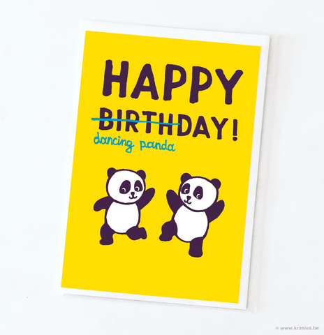"Birthday card ""Dancing panda"" - Wholesale"