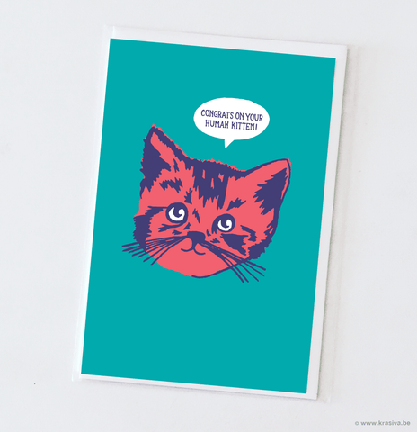 "New baby card ""Kitten"""