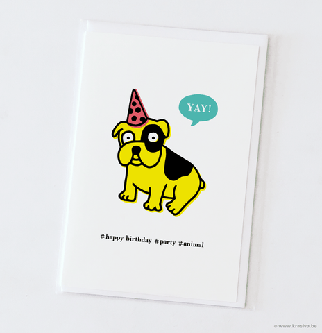 "Birthday card ""Party animal dog"" - Wholesale"