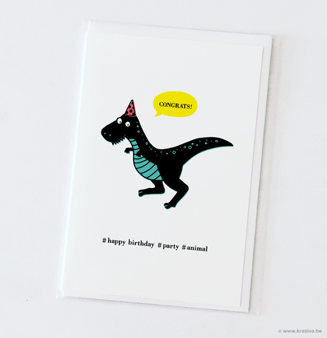 "Birthday card ""Party animal T-rex"""