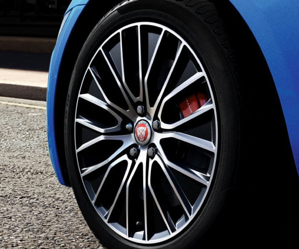 "Jaguar XE Alloy Wheel - 18"" Style 1049, 10 split-spoke, Gloss Black Diamond Turned finish"