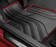 BMW 2 Series Floor Mats - Black/Red Front