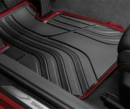 BMW 4 Series Floor Mats Black/Red - Front