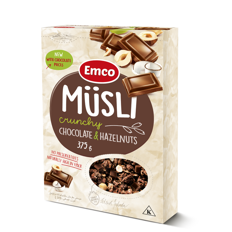 Musli Crunchy Oat Cereal with Chocolate and Hazelnuts 375g