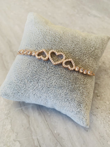 Park Lane Rose Gold Three Heart Bracelet