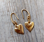 Double Heart Dropper Loop Through Earrings