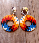 Chunky Bright Pattern Circle Earrings