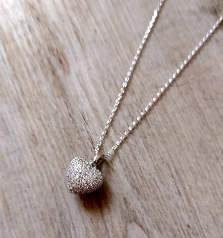 Crystal Cluster Heart Pendant Rhodium Plated Necklace Silver