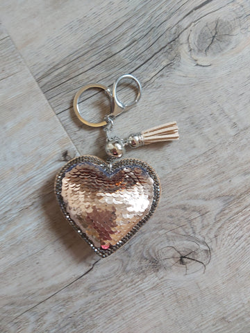 Rose gold sequin keyring