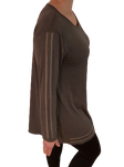 Malissa J long sleeve top with stud hem