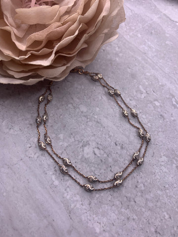Annabella 2 Chain Rhodium Plated Silver and Rose Gold Anklet