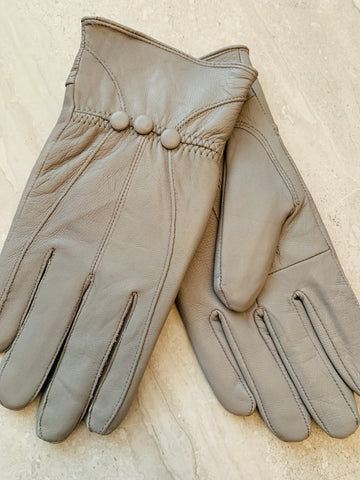 Ladies Leather Button Glove