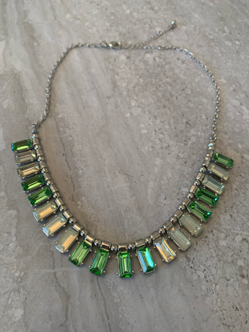 Park Lane Rhodium Plated Necklace with Green Stones
