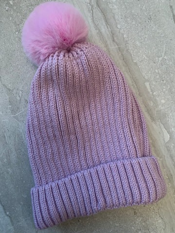 Winter Bobble Hat with faux fur