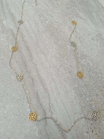 Park Lane Long Necklace with Flower Detail