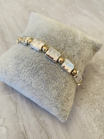 Park Lane Silver and Gold Plated Elasticated Bracelet