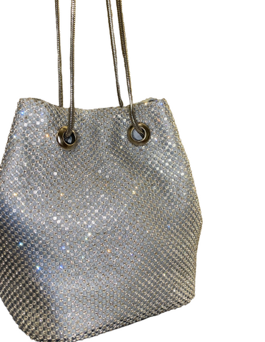 Silver Diamante Drawstring Bag