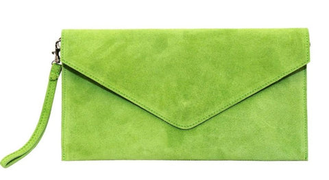 Pure White Suede Envelope Clutch - Pick from a range of colours