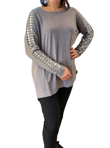 Malissa J Flat stud sleeve panel jumper