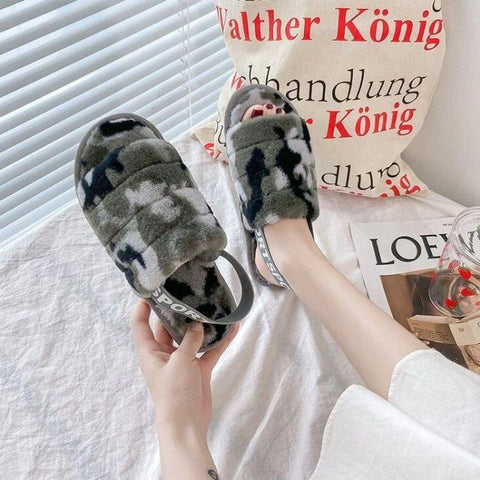 Elastic strap slippers Camo Grey
