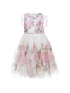 Monnalisa Girls Short Sleeve Floral Flared Dress-Dress-Bambini Emporio