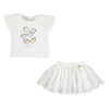Mayoral baby girls embroidered tulle skirt with short sleeve t-shirt set-Skirt-set-Bambini Emporio