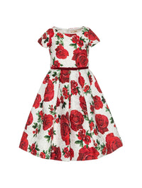 Monnalisa girls brocade roses dress-Dress-Bambini Emporio