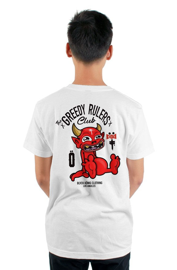 White crew neck short sleeved t-shirt with the greedy rulers club and red devil drawing printed on the back.