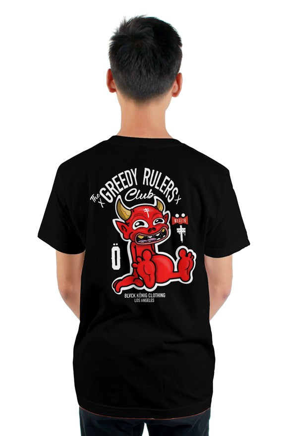 Black crew neck short sleeved t-shirt with the greedy rulers club and red devil drawing printed on the back.