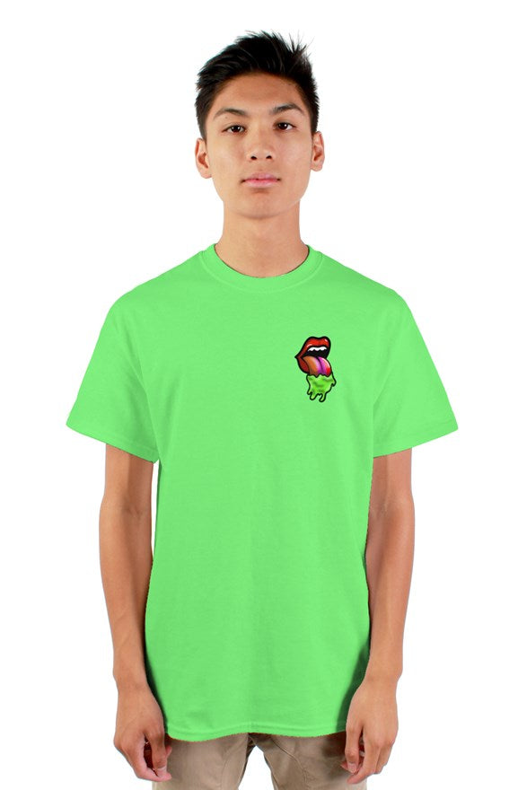 neon rolling stones blood thirsty dripping tongue tshirt