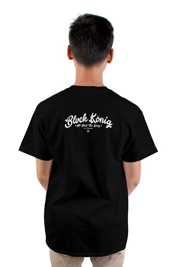 Black crew neck short sleeved t-shirt with a colored crowned circle king drawing on chest.