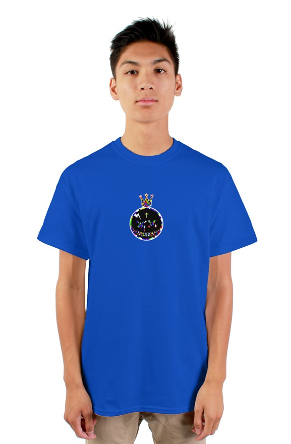 Royal blue  crew neck short sleeved t-shirt with a colored crowned circle king drawing on chest.