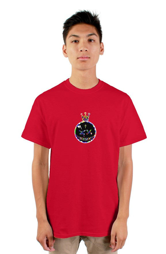 Red  crew neck short sleeved Candy King T-Shirt with a colored crowned circle king drawing on chest.