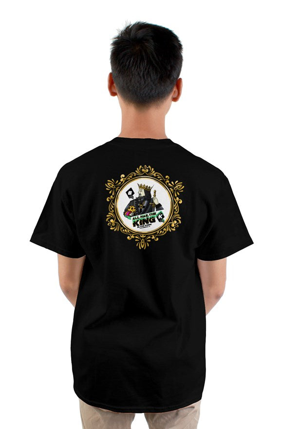 Black short sleeved ribbed crew neck t-shirt all hail the king limited edition artwork of a king printed on the back.