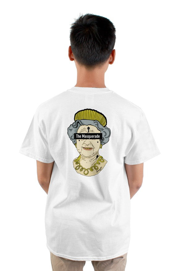 White  crew neck short sleeve t-shirt with drawing of a queen with a crown with letters the masquerade on the back.